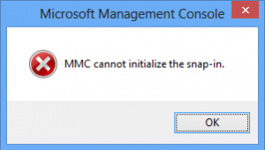 MMC cannot initialize the snap-in
